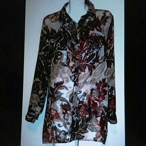 Bobeau brand top L silky tab sleeve tunic blouse